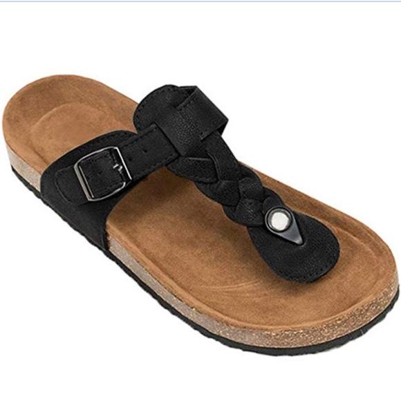 d17abd0d1492e Womens T Strap Slip on Thong Braided Sandals